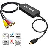 RCA to HDMI Converter, Tackston RCA Composite CVBS AV to HDMI 1080P Video Audio Converter Adapter for PS2 Wii NES N64 Xbox Sega Genesis VHS VCR Camera DVD Players