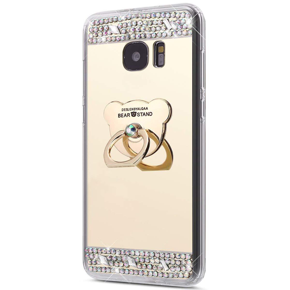 Galaxy S7 Hülle, Spiegel Hülle für Samsung Galaxy S7, Surakey Luxus Glitzer Strass Ring Stand Holder Bär Muster Schutzhülle für Samsung Galaxy S7 Weich Silikon Handyhülle Spiegel Hülle Mirror Effect, Neu Mode Cool Luxus Bling Glitzer Kristall Strass Diaman