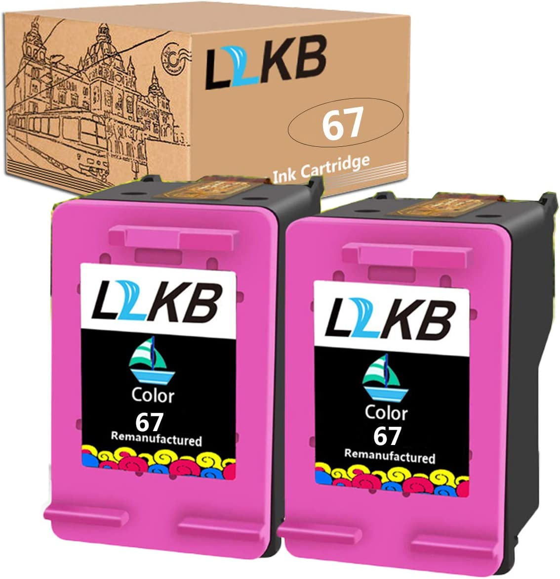 L2KB Remanufactured Ink Cartridge Replacement for HP 67 3YM56AN Color 2 Pack Ink Cartridge Envy 6052 6055 6058