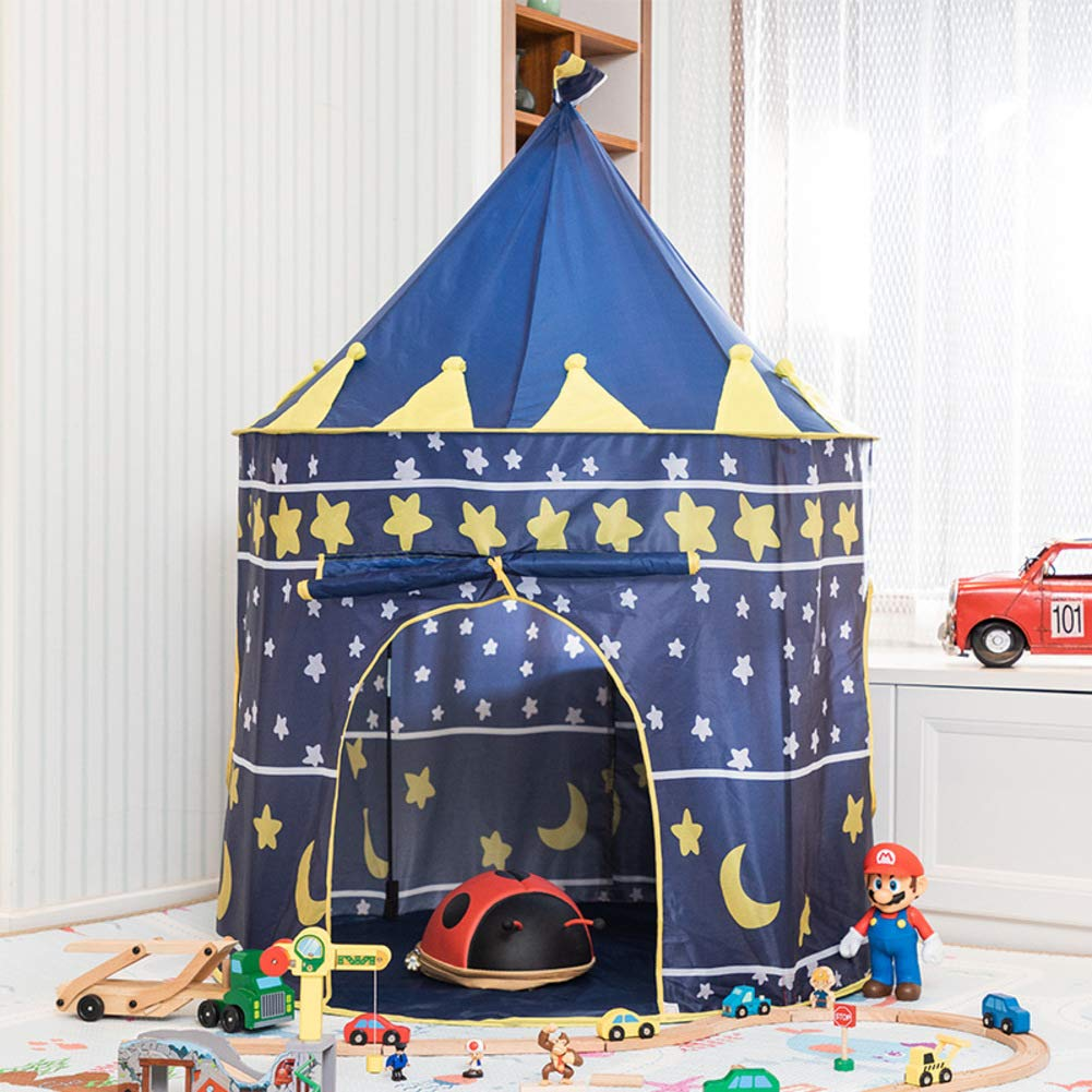 CNZXCO Pop up Tent for Kids Childrens Foldable Tents Indoor Outdoor Princess Prince Castle Portable Playhouse for Boys Girls with Carry case-Blue 105x135cm(41x53inch)
