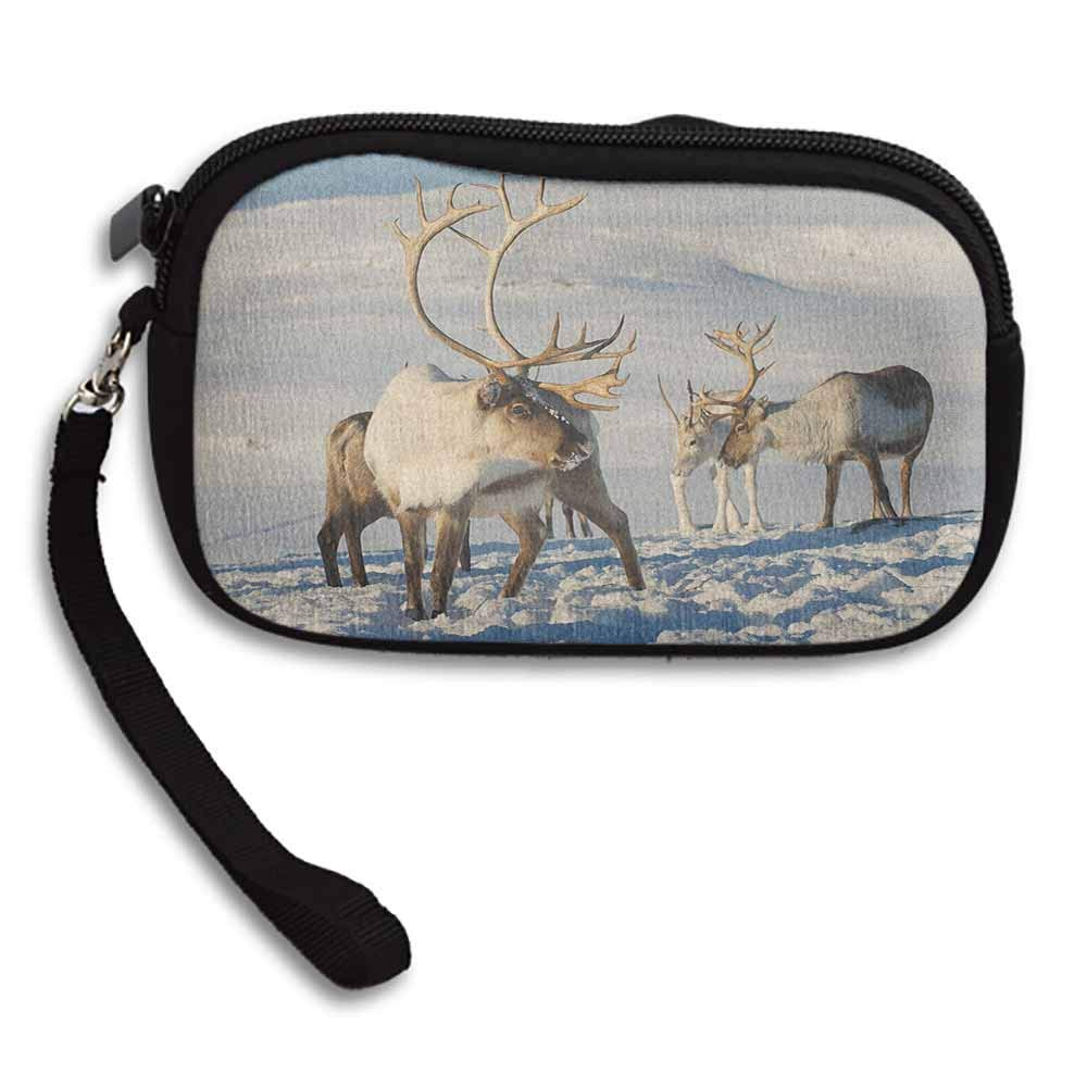 Winter Womens Coin Change Purse Pouch Reindeers Natural Environment Tromso Northern Norway Caribou Antler Wildlife W 5.9x L 3.7 Zippered Wallet Make Up