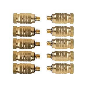 10pcs High Pressure Brass Fog Mist Nozzles, Fogging Spray Head 0.1mm Nozzles Atomizing Misting Sprayer Water Hose Nozzle for Garden Greenhouse Outdoor Cooling System