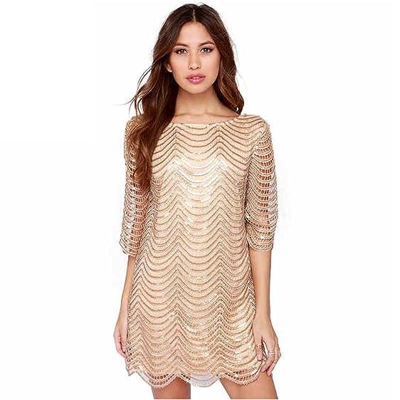 Women Plus Size Sequin Dress Crewneck Half Sleeve Stripe Party Prom