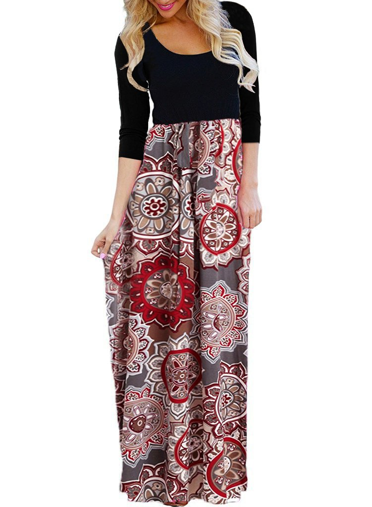 OURS Women's Sexy Ethnic Style 3/4 Sleeve Floral Print Long Maxi Dresses with Pockets(A-color1, M)