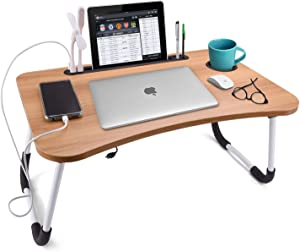 Slendor Laptop Desk Foldable Bed Desk Table Tray Collapsible Standing Desk Foldable Legs and Cup Slot for Eating Reading Book Watching Movie on Bed Couch Sofa Floor Tatami