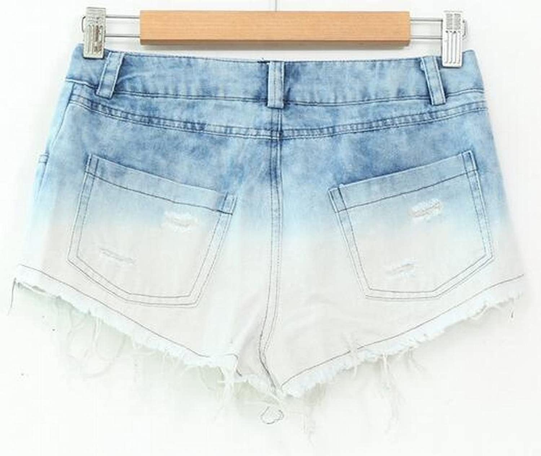 OULIU Women Fashion Sexy Holes High Waist Cutoffs Jeans Shorts