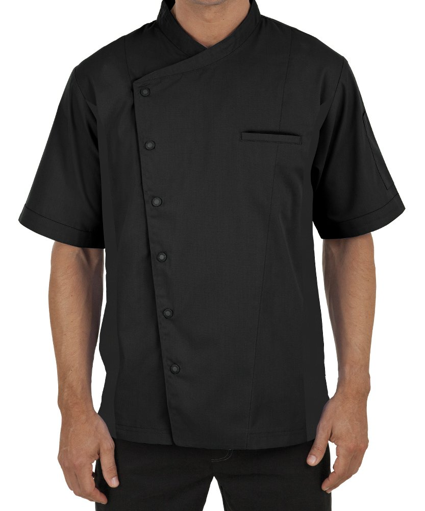 Men's Short Sleeve Chef Coat with Mesh Sides (XS-3X, 2 Colors) (Large, Black)