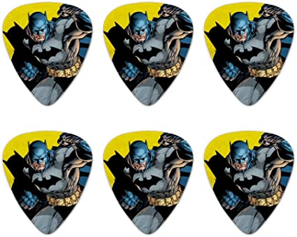 Set of 6 Batman Joker Character Novelty Guitar Picks Medium Gauge