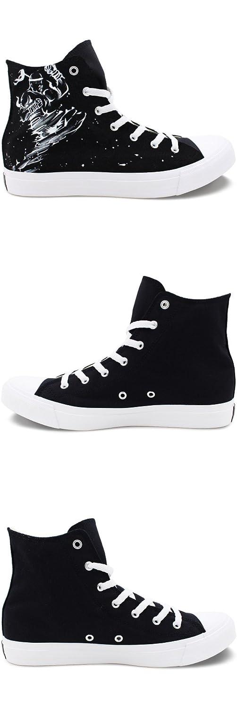 Wen Fire Hand Painted Hi-top Shoes Design Muay Thai K.O Unisex Canvas Sneakers