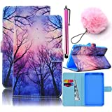 Galaxy Tab A 7.0 Case,Vandot PU Leather Magnetic Stand Wallet Case Flip Folio Cover Colorful Painting Pattern for Samsung Galaxy Tab A 7.0 inch SM-T280 T285+Pompon Ball+Stylus Pen-Purple Blue