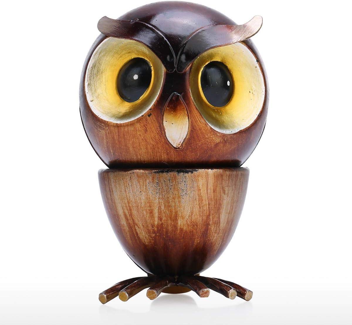 Tooarts- Adorno Decorativo de Búho de Hierro con Cabeza Girar 360 Grados Apariencia Linda Exquisitas Artesanías Decoración de Hogar en Escritorio/Soporte de Exhibición/Estante