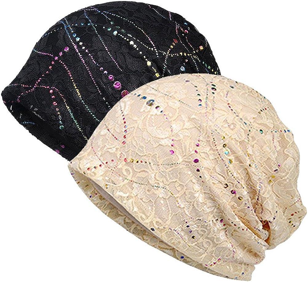 CHUANGLI Women Lace Beanies Head Cap Cancer Hats Beanie Stretch Casual Turbans Soft Slouchy Hat