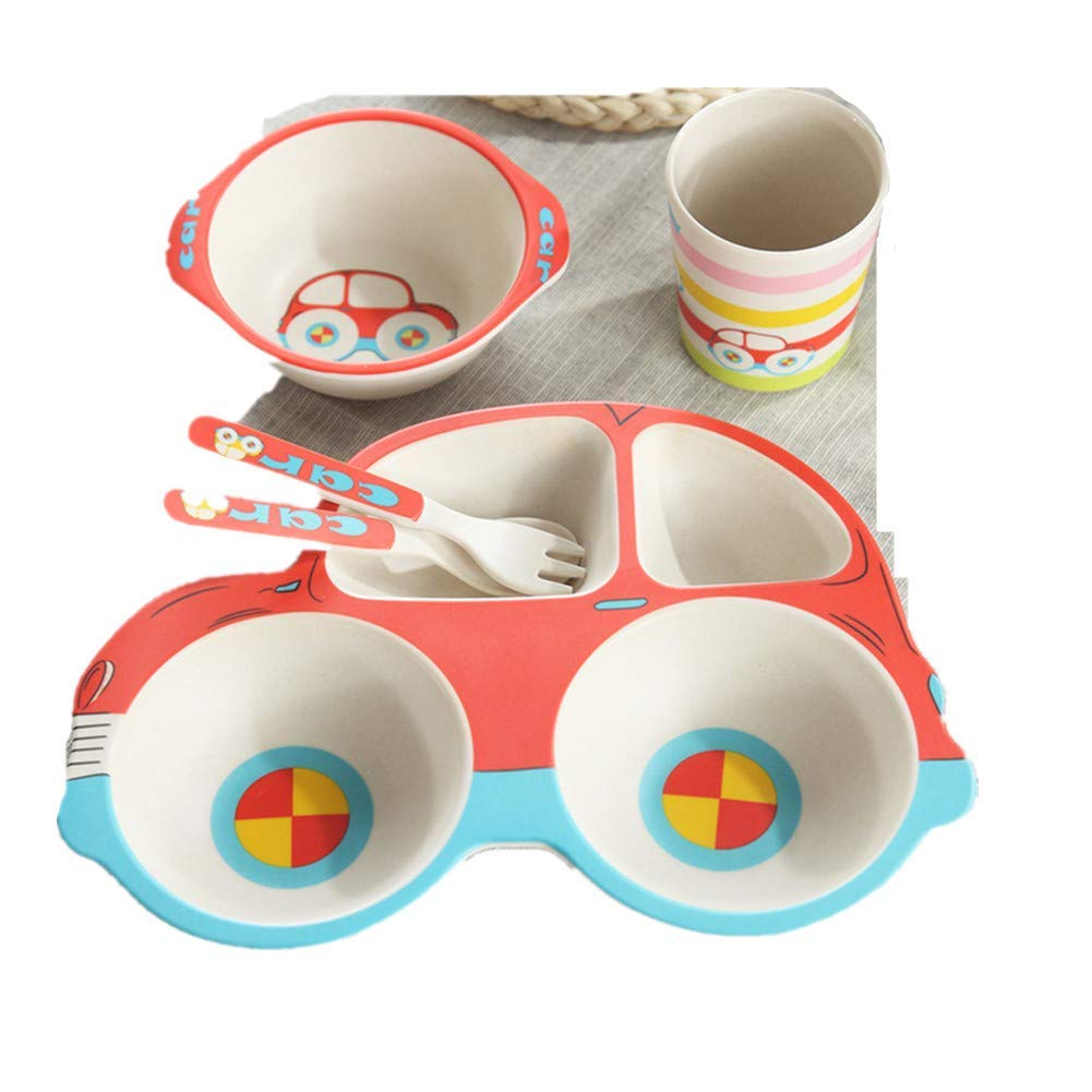 Kinue Exquisite Tea Cups Saucers Set Set Coffee Cup Car Children's Bamboo Fiber Cartoon Tableware Bowl 5-Pieces (Color : Red) by Kinue