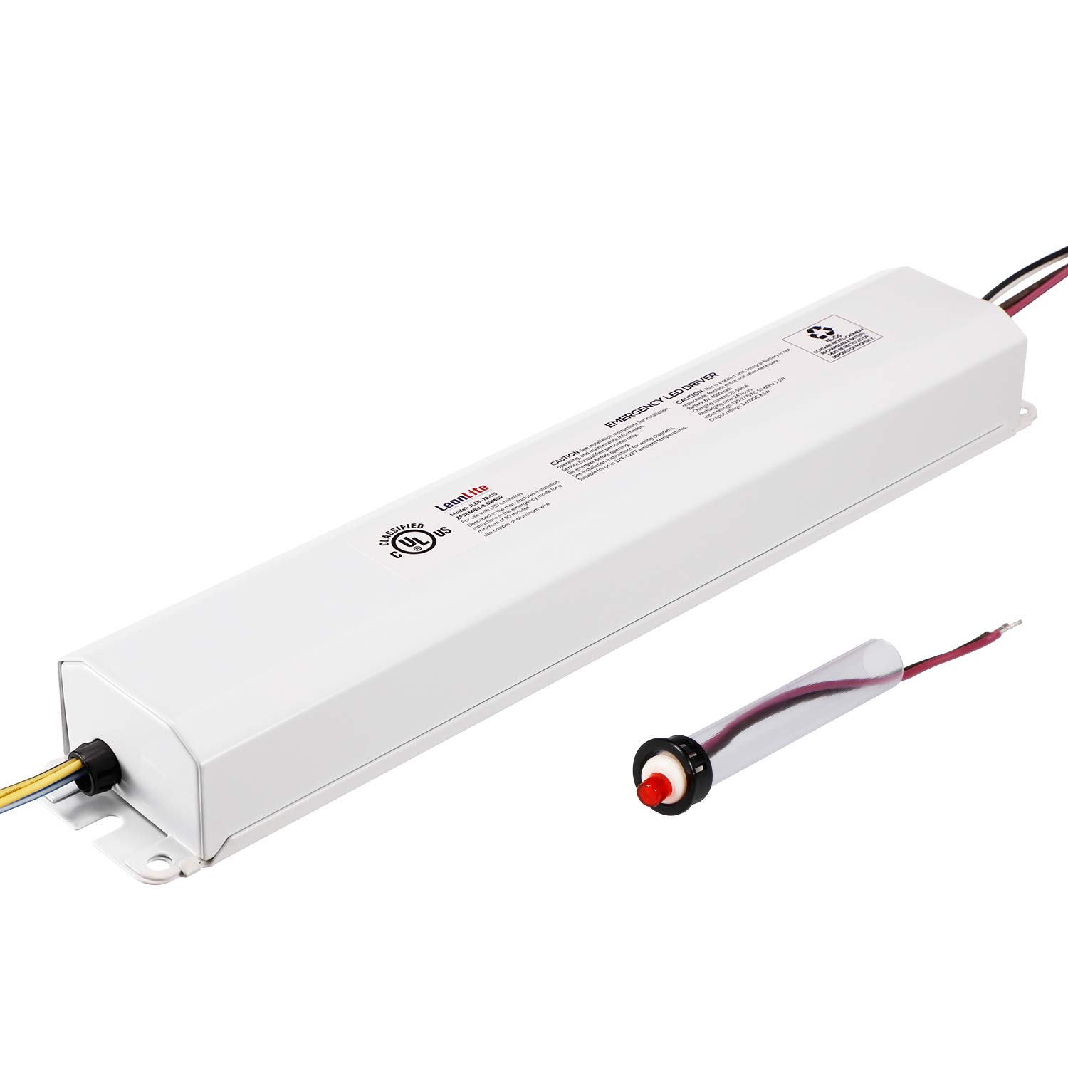 LEONLITE 8.5W 3-60VDC Emergency LED Driver, Rechargable UL Listed Backup Battery, Over 90mins Emergency Lighting, for 8-72W LED Luminaires with External Drivers