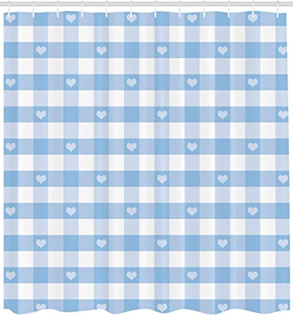 Pale Blue White Ambesonne Checkered Storage Toy Bag Chair Stuffed Animal Organizer Washable Bag for Kids Large Size Gingham Motif with Little Hearts Pastel Blue Baby Shower Kids Theme