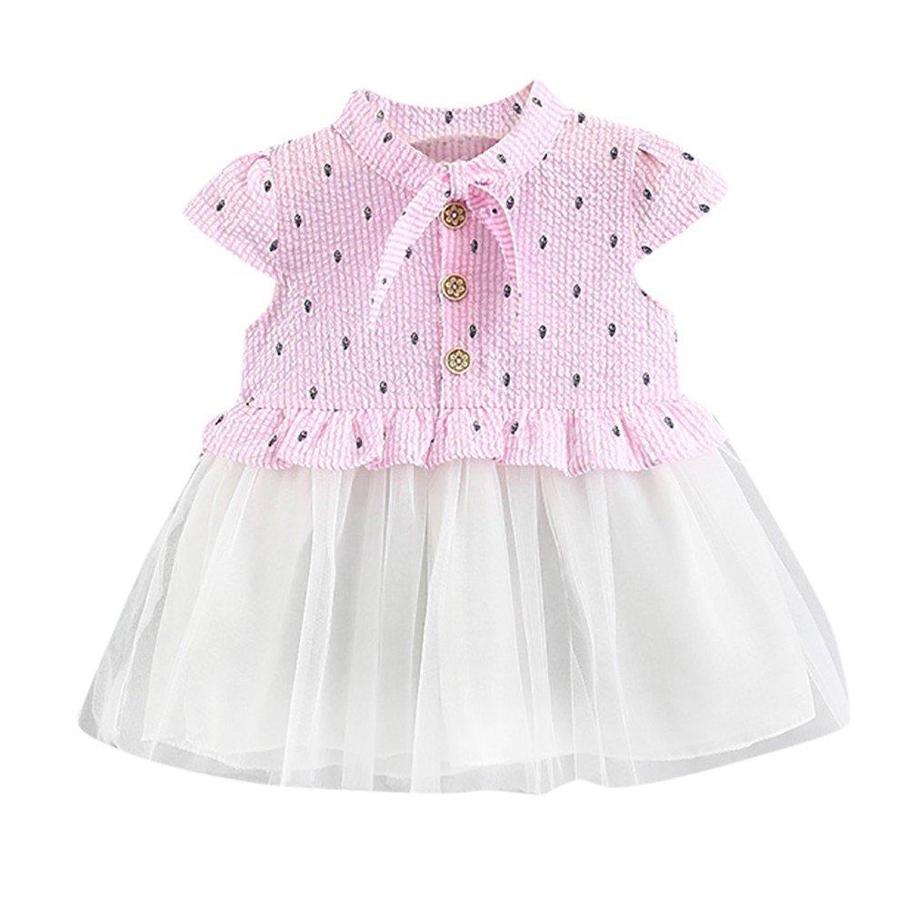 WOCACHI Toddler Baby Dresses Newborn Toddler Baby Girls Print Princess Net Yarn Button Casual/Dress Clothes