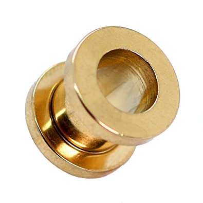 Expansor Túnel Tunnel Plug Piercing y Dilatador Taper Piercing Oreja Color Oro 1,6 2 3 4 5 6 8 10 mm set o single, color:Tunnel golden / gold - 1.6mm: ...