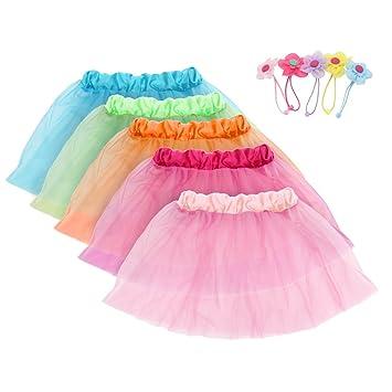 Girls Princess Tutu Skirts Set Fedio 5 Pack Kids Ballet Costume Dress With 5Pcs Flower