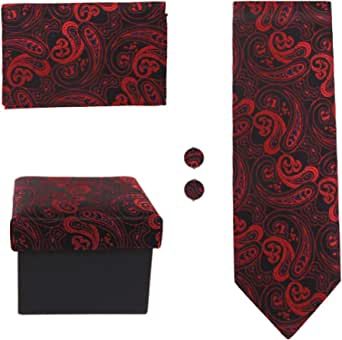 DAD3B Fashion Pattern Ties Cufflinks Hanky with Matching Fabric Box Dan Smith