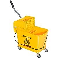 Chariot de nettoyage lavage seau de ménage 20 L avec essoreur et séparateur eau sale propre jaune 60L x 27l x 71H cm