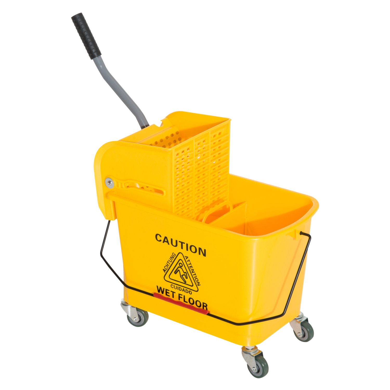 Chariot de nettoyage lavage seau de ménage 20 L avec essoreur et séparateur eau sale propre jaune 60L x 27l x 71H cm neuf 02 Homcom