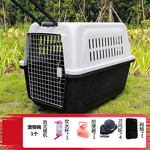 Black 58x37x37cm black 58x37x37cm ZUOZUOZUO Pet Air Box Dog Cat Cage Cat Out Portable Extra Large Dog Number golden Hair Shipping Box Transport Trolley Box Black 58X37X37Cm