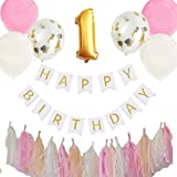 Hanamei 誕生日 飾り付け 装飾 バースデー デコレーション セット no.2 ファーストバースデー1歳 2歳 男の子 女の子 pa015 (1歳, ピンク)