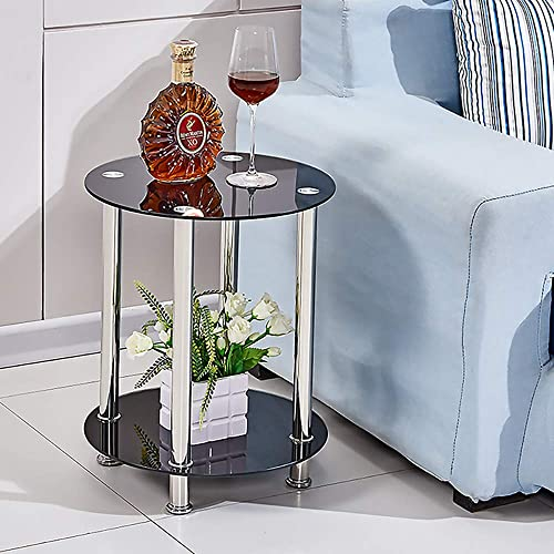 Redd Royal Round End Table Glass Top with 2 Tier for Small Spaces Side Table for Living Room Sofa Side Table Nightstand for Bedroom Black