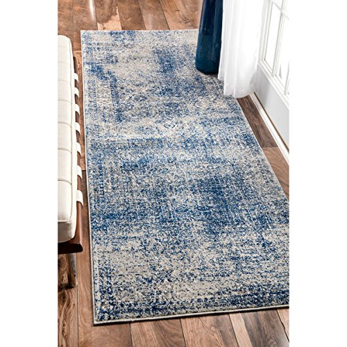 nuLOOM Vintage Distressed Blue Runner Rug (2'8 x 8')