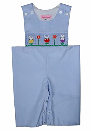 d583569a1c83 Amazon.com: Baby Boys Blue Hand Smocked Easter Bunny Longall: Clothing