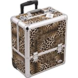 Sunrise C6006 Eight Easy Slide Extendable Trays Professional Makeup Rolling Case with Dividers, Leopard