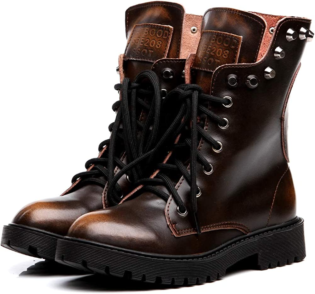 Shenn Womens Round Toe Mid Calf Punk Military Combat Boots
