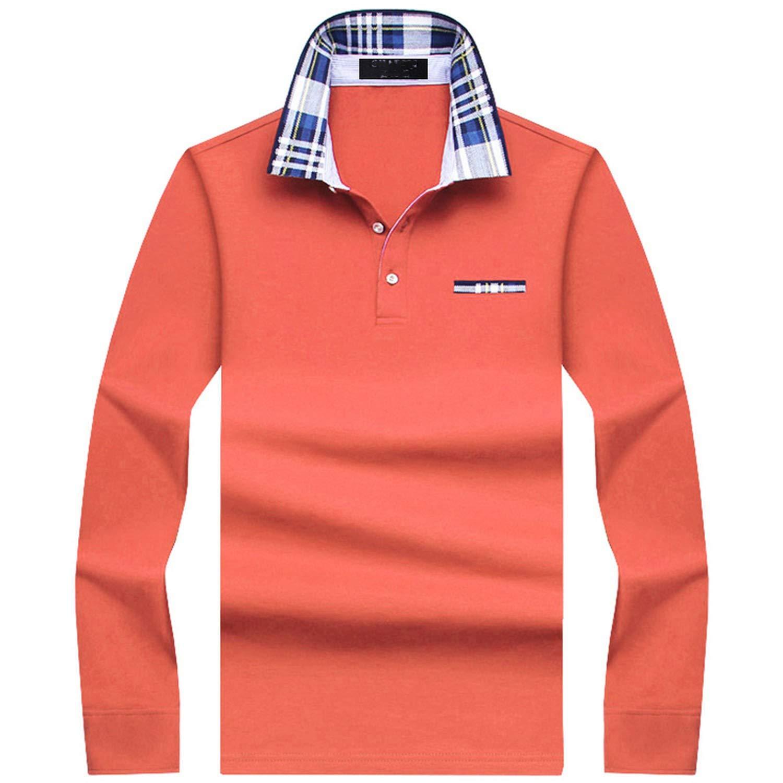 Mens Solid Long Sleeve Polo Shirt Men Autumn Full Sleeve Warm Shirt Casual Pocket Tops Plus Size S-10XL