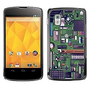 Qstar Arte & diseño plástico duro Fundas Cover Cubre Hard Case Cover para LG Google NEXUS 4 / Mako / E960 ( Computer Chip Art Code Technology Green)