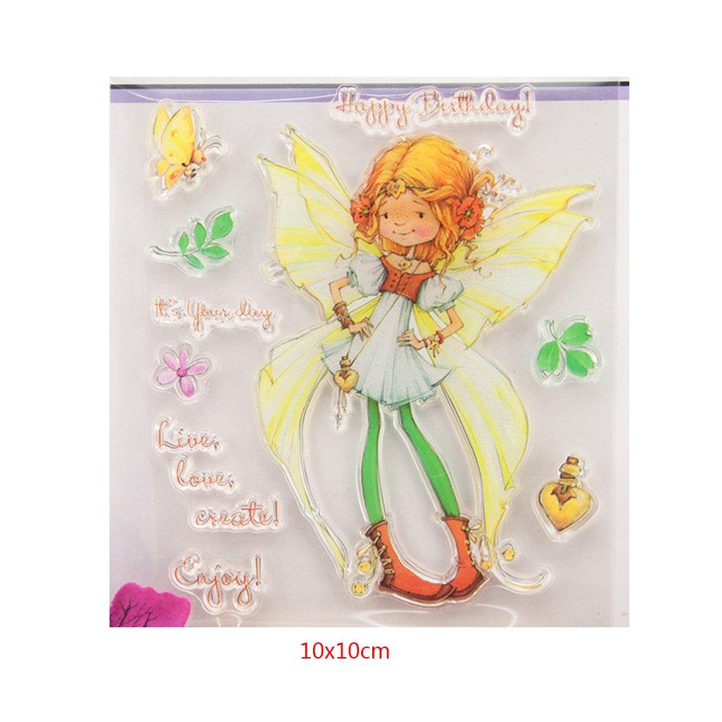 /álbum sellos de silicona Clear Stamps DIY Artesan/ía Scrapbooking Decorar Mariposa Girl silicona transparente sello hojas scrapbooking