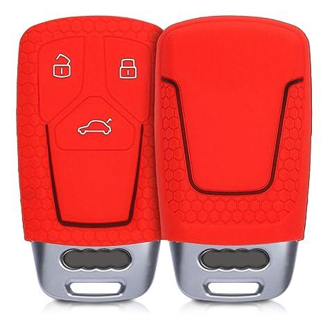 Solo Keyless Go - Funda TPU Llave con Botones de Llave de Auto Plateado Brillante kwmobile Funda para Mando Compatible con Audi Llave de Coche Smartkey de 3 Botones