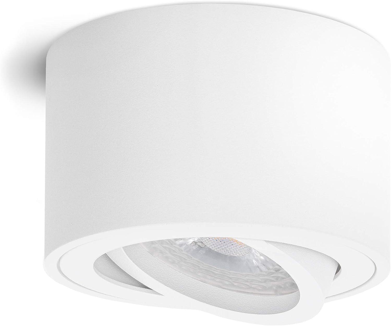 linovum SMOL LED Aufbauleuchte matt wei/ß flach /& schwenkbar wechselbarem LED Modul 5W warmwei/ß 230V Aufbaustrahler inkl