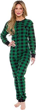 Silver Lilly Oh Deer Plaid One Piece Pajamas Womens Union Suit Pajamas with Drop Seat
