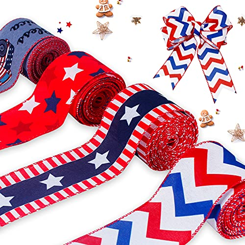 JOLYMAKER Printed Patriotic Stars and Stripes Ribbon Fabric 4 Rolls 26 Yards x 2.5in Wide Blue Ribbon Flag Decorative Ribbon Wired for Cake Decorating, Gift Wrapping, Wreaths, Baby Shower, Crafts