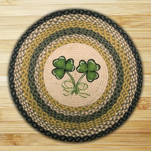 Earth Rugs Round Rug, 27 , Black Green Natural