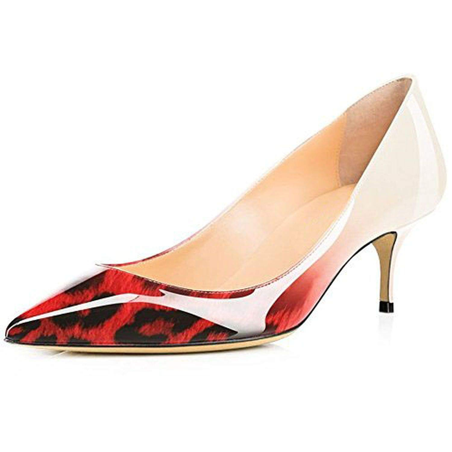 Red Leopard Youthern Woman Heels Big Size Pumps shoes Sexy Pointed Toe High Heels Wedding Bridal shoes