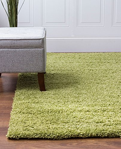 Super Area Rugs, Cozy Solid Green High Pile Shag Rug, 4' x 6'