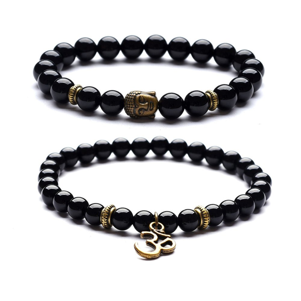 Black Agate Picture Jasper Beads Bracelet with Bronze Buddha Head Yoga Meditation Reiki Prayer Bracelet YSY Bead-100