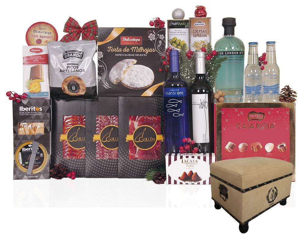 Puff Vintage con kit de Gin Tonic, surtido de ibéricos de bellota de Guijuelo, vinos, surtido de turrones y dulces navideños, gran variedad de conservas: ...