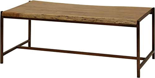 StyleCraft ISF24702DS 45 1 2 Long Solid Acacia Wood and Iron Coffee Table with Live Edge