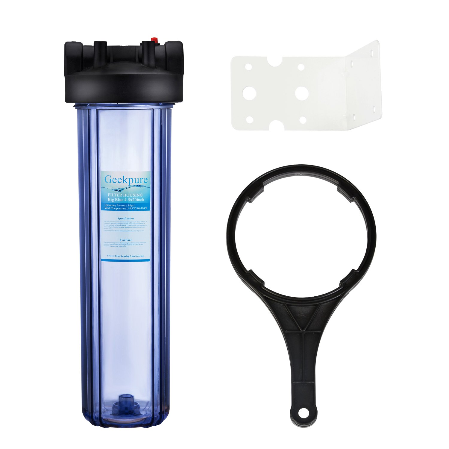 Geekpure 20-Inch Big Blue Water Filter Housing 1-Inch Outlet/Inlet with Wrench and Bracket and Filter Cartridges (Clear Housing)