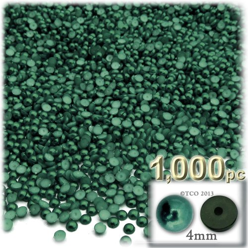 The Crafts Outlet 1000-Piece Pearl Finish Half Dome Round Beads, 4mm, Forest Green ()