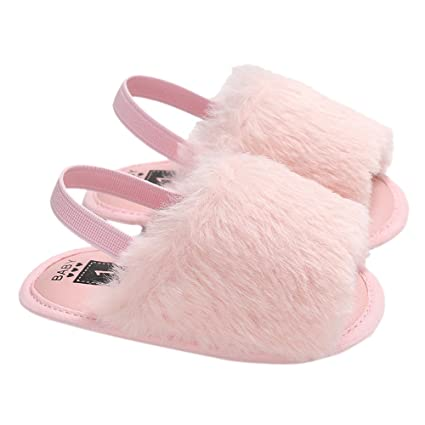 10cc7bd7390e Amazon.com  Walmeck Baby Girls Faux Fur Slide Sandal Fluffy Slippers with  Back Strap Soft Sole Non-Slip Toddler Shoes Prewalker  Home   Kitchen