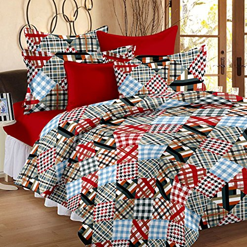 Story@Home Metro Mix N Match 186 TC Checks Home Cotton Bedsheet for Double Bed