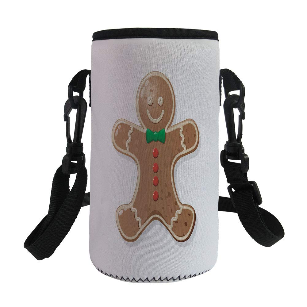 Small Water Bottle Sleeve Neoprene Bottle Cover,Gingerbread Man,Iconic Seasonal Baked Pastry Sugary Treats for Kids Joyous Fun Xmas Decorative,Caramel Red Green,Great for Stainless Steel and Plastic/G